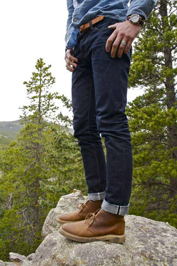 Brown Desert Boots with Jeans