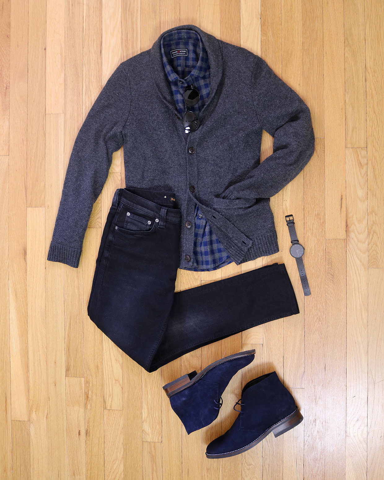 Navy Desert Boots with Jeans Outfit Grid