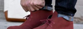 Red Desert Boots with Jeans