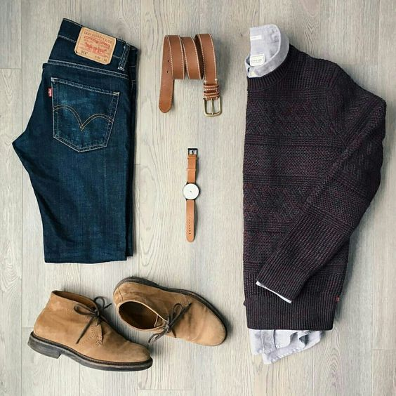 Sand Suede Desert Boots with Jeans Outfit Grid