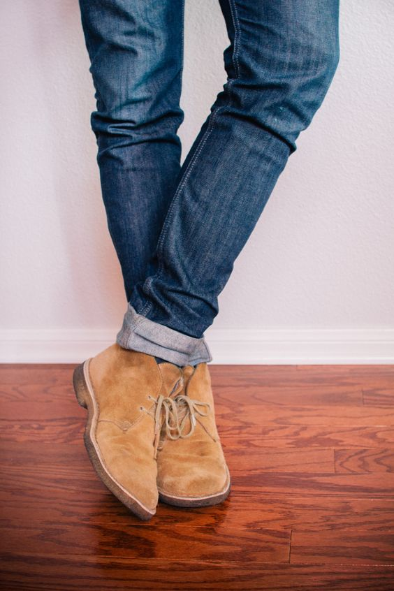 Sand Suede Desert Boots with Jeans