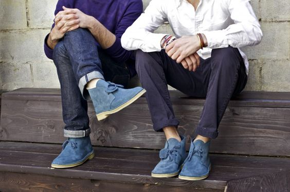 Slate Blue Suede Desert Boots with Jeans