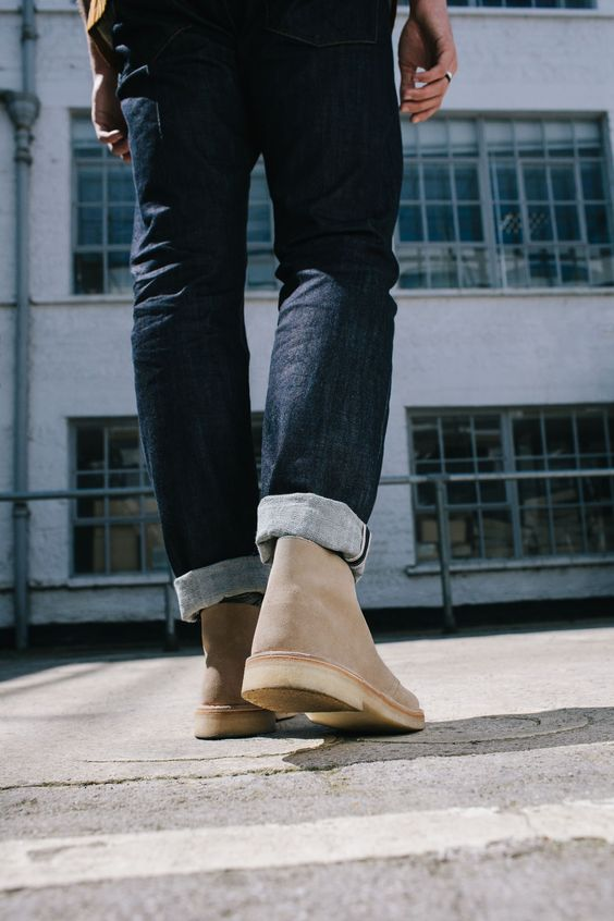 Tan Suede Desert Boots with Jeans