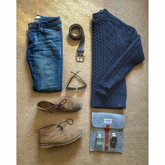 Tan Desert Boots with Jeans Outfit Grid