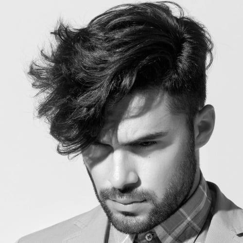 Angular fringe hairstyle men